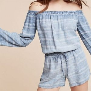 NWT Anthropologie Cloth & Stone Chambray romper Lg